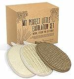 Set d'exfoliation - 3 gants de gommage - en éponge loofah, fibres de chanvre et sisal pour un peeling naturel efficace et écologique du corps et du visage - coffret cadeau– idée cadeau