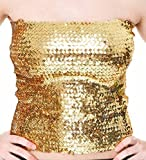 Bandeau-Top / Minirock, Pailletten, stretch, Größe 32-40 (Gold)