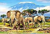 Unbekannt Puzzle 1000 Teile - Elefanten am Kilimandscharo - Zeichnung - Gemälde - Landschaft Romantisches Motiv - Elefant Afrika - Tiere Tansania Kibo - Bergmassiv - Zo..