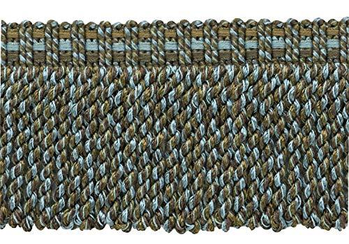 DecoPro 4,6 Meter Vorteilspackung mit modernem, modernem Spa-Blau, Mokka Braun, Schokoladenbraun 76 mm dekorative Knüppelfransen, Stil#: BFV3 - Farbe: VNT34 - Mokkka Blau -
