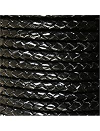 Jewellery of Lords 5 Meter Black 3mm Braided High Quality Round Cord Real Leather String Lace Thong Jewellery Making