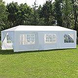 COSTWAY Partyzelt Gartenzelt Festzelt Hochzeit Pavillon Zelt Gartenpavillon Bierzelt mit Fenster 3x9m (Weiß)