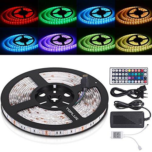 TOPLUS LED Streifen 5M 300LEDs Beleuchtungsset RGB Lichterkette inklusive IR Fernbedienung Empfänger und Netzteil mit EU Stromkabel(Verbesserte Version von 5050 SMD)