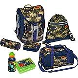 """Die Spiegelburg 13862, jouet pour enfants, fournitures scolaires - ensemble complet pour l'école - kit composé de 7: sac à dos, sac, sac, étui rigide et souple, bouteille d'eau et boîte à luch - série: """"Ranzenset T-Rex World Camouflage"""""""