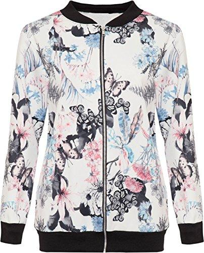 Bomberjacke für Damen, mit Schmetterling-Druck, Top, lange Ärmel, Übergröße 42-56 Gr. 40, white butterfly print