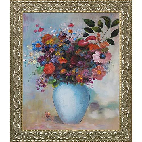 overstockArt Ölgemälde, Blumen in türkiser Vase, 1912, mit goldfarbenen Perlen, 76,2 x 66 cm,...