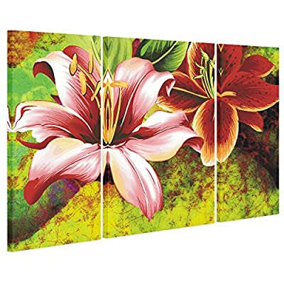UNIQUEBELLA Two Flowers painting printed on Canvas, Large Wall Art Pictures Print on Canvas for Home kids room decoration for Home Decoration (No Frame), 3 pcs/set 30*60cm*2, 45*60cm*1