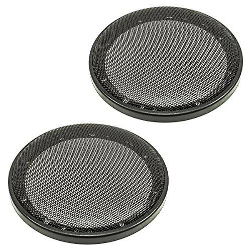 tomzz Audio ® 2800-002 Lautsprecher Gitter Grill für 165mm DIN Lautsprecher, schwarz, 2-teilig Kunststoffring mit Metallgitter, Satz
