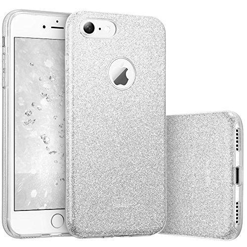 ESRLuxus Glitzer Bling Hülle kompatibel mitiPhone7,iPhone8 Hülle [Glänzende Mode] Designer Schutzhülle für AppleiPhone7/8 4.7 Zoll - Silber