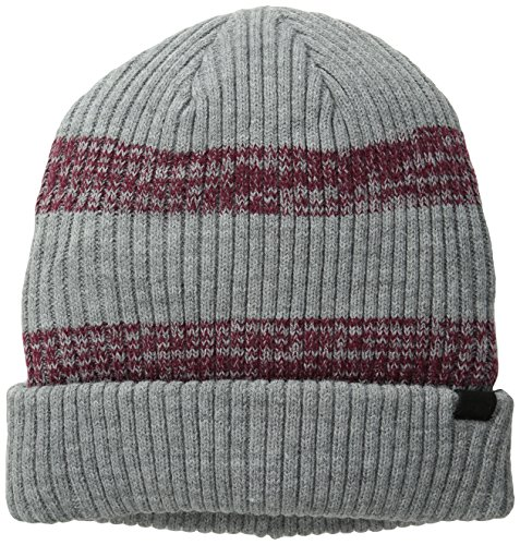 00b388710c4 Levis Mens Wide Cable Knit Two Toned Striped Beanie Gray One Size