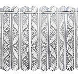 Louvre - Cortina de gasa - Con diseño de persiana con encaje vertical y filigranas - blanco - 183 cm de ancho x 61 cm de largo