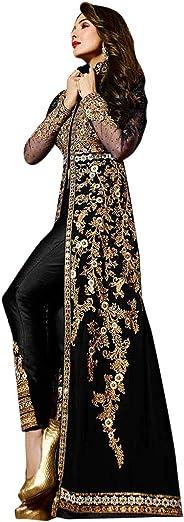 سروال نسائي باكستاني طويل بتصميم أنيق وعباية اناركالي أسود مخيط من Malaika