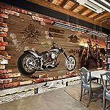 Hintergrundbild Wandsticker Wandtattoo Wanddekoration Leinwandbilderbenutzerdefinierte 3D Fototapete Vintage Motorrad Nostalgischen Ziegel Wand Hintergrund Dekoration Für Wohnzimmer Bar Ktv Wandmalereien 140 * 70,5 Cm