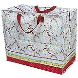 LS Design XXL Jumbo Bag Einkaufstasche Shopper Riesentasche Tasche Allzwecktasche Recycled Rose Blume Rosa/Pink 55x48x28cm LS-LebenStil
