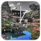 Ginkaku-ji-Tempel in Kyoto B&W Detail, Wanduhr Durchmesser 28cm mit schwarzen spitzen Zeigern und Ziffernblatt, Dekoartikel, Designuhr, Aluverbund sehr schön für Wohnzimmer, Kinderzimmer, Arbeitszimmer