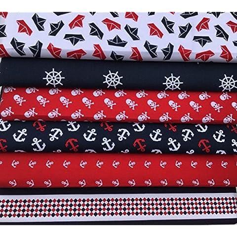 El arte de conexiones 100% algodón retales smartphonez anclajes Jolly Roger barcos bebé y niños de 48 - 50 x 56 cm de manualidades talego cromosomas