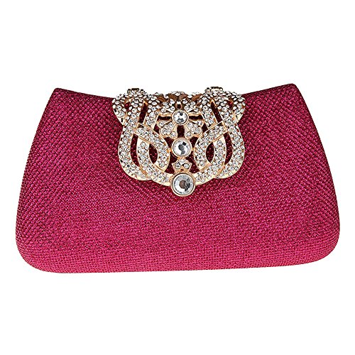 Bonjanvye Bling Crown Glitter Purse for Girls Evening Clutch Bags Gold fuchsia