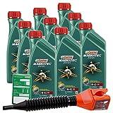 9x 1 L = 9 Liter Castrol Magnatec Diesel 5W-40 DPF Motor-Öl inkl. Castrol Ölwechsel-Anhänger und Einfülltrichter