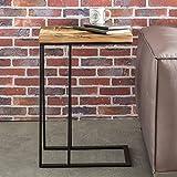FineBuy Beistelltisch BALLARI 31x70x46 cm Massivholz Tisch mit Metallgestell | Industrie Couchtisch Eckig Modern Design Holztisch mit Metallbeinen | Loft Wohnzimmertisch Modern