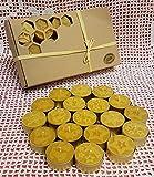 E - MANUFAKTUR Set 30 Stk. Teelichter mit Weinachtsmotiven aus 100% Bienenwachs Handgemachte Honig Kerzen Weinachtskerze Goldene Aluschalen