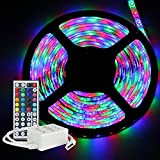iNextStation Flexible RGB LED Light Strip, 5M/16.4ft SMD 3528 LED Strip Light [24W 300LEDs Waterproof] +44Key IR Remote Controller Kit for Home Lighting, Kitchen, Indoor & Outdoor Decoration [No Power Supply]