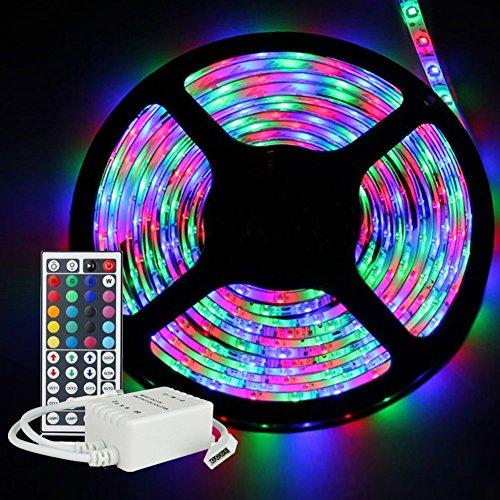 iNextStation Disque lumineux à LED RGB Flexible, 5M / 16.4ft SMD 3528 lampe à LED imperméable à l'eau + kit de télécommande infrarouge 44Key pour l'éclairage domestique, la cuisine, le noel, la décoration intérieure et extérieure