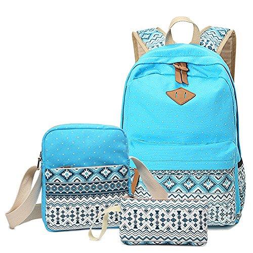 Aizbo® Canvas School Backpack Set 3 Pieces School Bags Set for Teenage Girls Casual Daypack/Shoulder Bag/Pencil Case (Sky Blue)