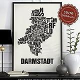 Darmstadt Buchstabenort Schwarz auf Naturweiß