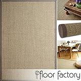 floor factory Sisal Teppich Taupe grau 80x150 cm 100% Naturfaser mit Leinenbordüre