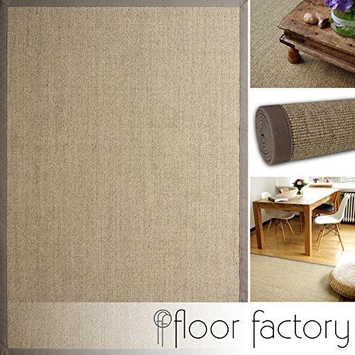 floor factory Alfombra Natural de Sisal Taupe Gris 110x170 cm Borde de algodón 100% Fibra Natural