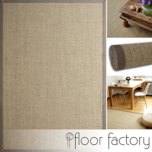 floor factory Alfombra Natural de Sisal Taupe Gris 110x170 cm Borde de