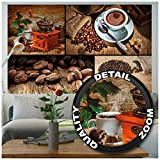 Great Art XXL Poster - Kaffee Collage - Wandbild Dekoration 4er Bild Kaffeemühle Kaffeebohnen Kaffeetasse Cafe Motiv Küchendeko Coffee Barista Wandposter Wanddeko Wandgestaltung (140 x 100 cm)