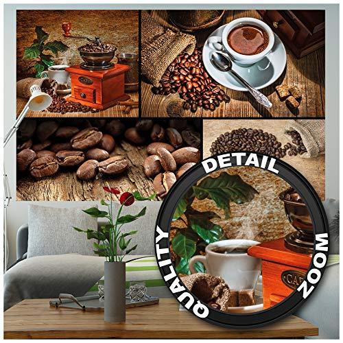 GREAT ART Fototapete - Kaffee - Wandbild Dekoration Küche Coffee Collage Kaffeetasse Küchendeko Kaffeebohnen Kaffeemühle Kaffeebilder Foto-Tapete Wandtapete Fotoposter Wanddeko (210 x 140 cm)