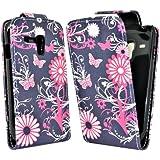 Accessory Master Etui Flip en cuir pour Samsung Galaxy S3 Mini i8190 Motif Papillon/Fleur Noir/Rose
