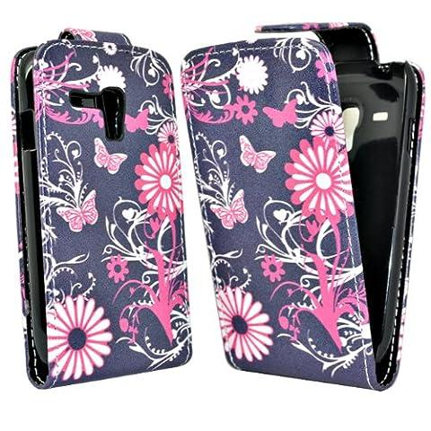 Accessory Master Etui Flip en cuir pour Nokia Lumia 610 Motif Papillon Fleur Noir/Rose