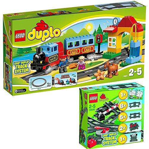LEGO Duplo 2-teiliges Set 10506 10507 Eisenbahn-Zubehör-Set + Eisenbahn Starter-Set