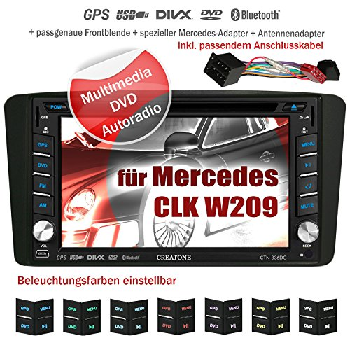 2DIN Autoradio CREATONE V-336DG für Mercedes CLK W209 (04/2004-2006) mit GPS Navigation (Europa), Bluetooth, Touchscreen, DVD-Player und USB/SD-Funktion