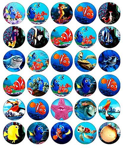 Kuchendekoration, Motiv: Findet Nemo Disney, essbares Oblatenpapier, für Geburtstagskuchen, 30 Stück