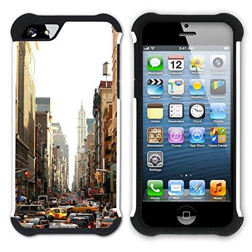 Graphic4You Brooklyn Bridge New York Postkarte Ansichtskarte Design Hart + Weiche Kratzfeste Hülle Case Schale Tasche Schutzhülle für Apple iPhone SE / 5 / 5S Design #11