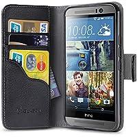 Cover HTC One M9, [ cassa del raccoglitore ] custodia / i-Blason *Kickstand* / cavalletto Case / Custodia per HTC One M9 , causa Hima [Cavalletto] copertura in pelle con titolari della carta di credito di identificazione (Nero)