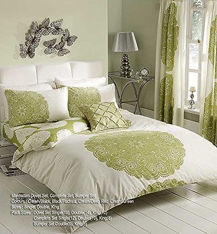 Luxury duvet cover sets printed polycotton new (Manhatten Cream/Green, King Duvet Set)