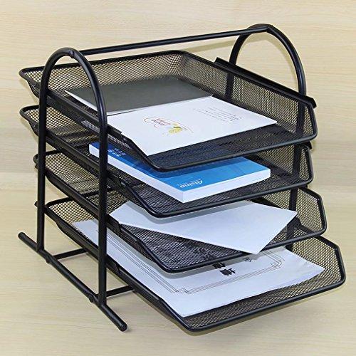 vierflammig Datei Dokument Buchstabe Paper Tray Sortiermaschine Collection Halter Regal Metall Mesh Schwarz für Büro Desktop Organizer