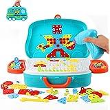 Ulikey Mosaique Enfant Puzzle 3D Construction Jouet, 207pcsAssemblage DIY Jouets de Perceuse Électrique, Montessori Jeu Mosaï