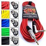 Plomb/Câble?: Guitare électrique/Instrument/électro-acoustique/basse + garantie à vie 6m/20ft, Red, Straight/Angled Jacks