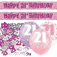 Unique BPWFA-4176 Glitz 21st Birthday Foil Banner Party Decoration Kit, Pink