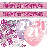 Pink Silver Girl Glitz 21st Birthday Banner Party Decoration Pack Kit Set