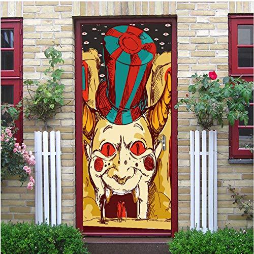 yezun Halloween Scary Clown 3D Fashion Decal Art Decor Wall Window Door Sticker Removable Mural Poster Scene Decoration 38.5x200x2pcs (Scary Halloween Clowns)
