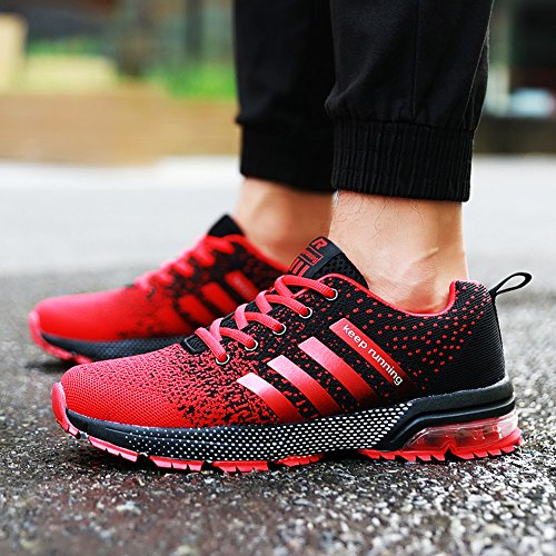 PAMRAY Herren Damen Sneaker Trekking Running Fitness Laufschuhe Air Sohle Low Top Mesh Turnschuhe 36-46 Schwarz Schwarz-Weiss Blau Rot Rot