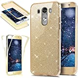 JAWSEU Etui LG G3,Coque LG G3 Transparent Silicone Gel Ultra Mince TPU 360 Degrés Full Body Protection Brillant Bling Glitter Paillette Flexible Silicone Case Coque Housse Etui,Or