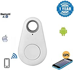 Wireless Bluetooth 4.0 Anti-Lost Anti-Theft Alarm Device Tracker with GPS Locator Remote Shutter & Recording for Compatible All Android & iOS Smartphones (Color May Vary)